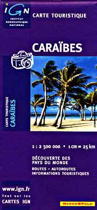 Caribbean, Road and Shaded Relief Tourist Map.