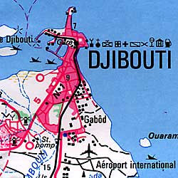 Djibouti Road and Physical Shaded Relief Map.