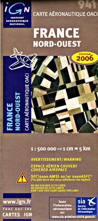 France, Northwest, Aeronautical Map.