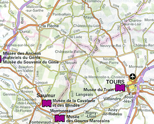 France, Forts and Castles, Road and Tourist Map.
