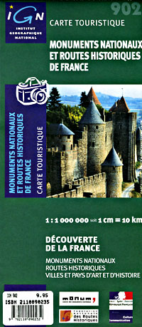 France Historic Routes, Road and Tourist Map.
