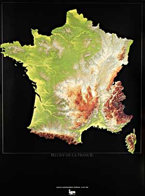 France, Physical, Relief WALL Map.