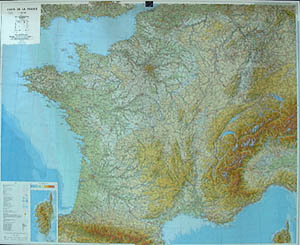 France, Physical WALL Map.
