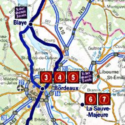 France, Santiago de Compostela Pilgrim Routes, Road and Tourist Map.