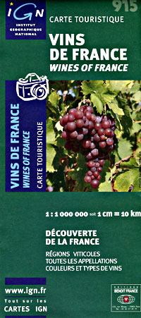 France, Wines of France, Road and Tourist Map.