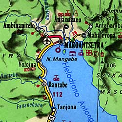 Madagascar Road and Shaded Relief Tourist Map.
