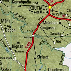 Mali Road and Physical Tourist Map.