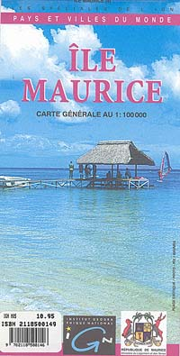 Mauritius Island, Road and Topographic Tourist Map, Indian Ocean.