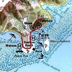 Tahiti and the Society Islands, Road and Shaded Relief Tourist Map.