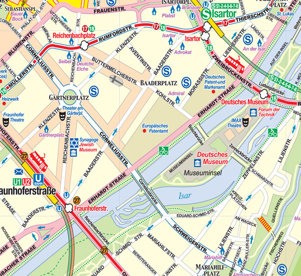 Bavarian and Munich Road and Physical Travel Reference Map, Germany.