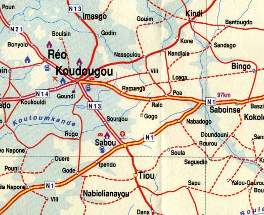 Burkina Faso, Road and Travel Reference Physical Map.