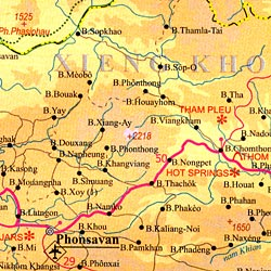 Cambodia and Laos, Road and Travel Reference Physical Map.