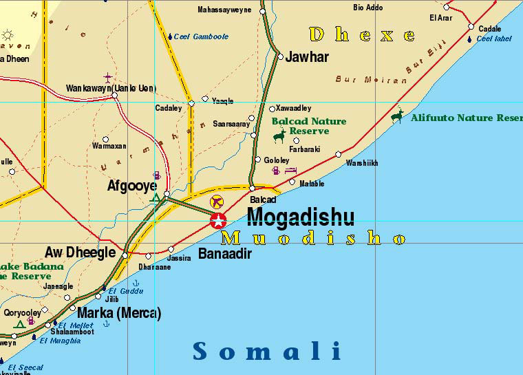 Djibouti and Somalia, Road and Physical Travel Reference Map.