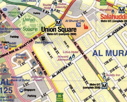 Dubai and United Arab Emirates, Road and Physical Travel Reference Map.