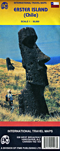 Easter Island, Road and Physical Travel Reference Map, Chile.