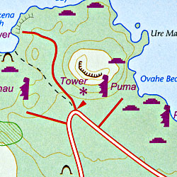 Easter Island, Road and Travel Reference Physical Map, Chile.
