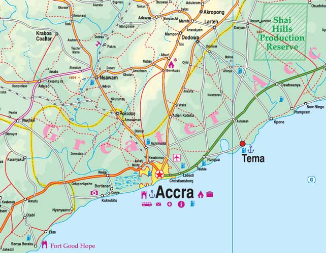 Ghana Road and Physical Travel Reference Map.