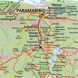 The Guianas: French Guiana, Suriname, and Guyana, Road and Physical Travel Reference Map.