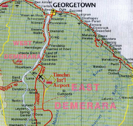 Guyana Road and Physical Travel Reference Map.