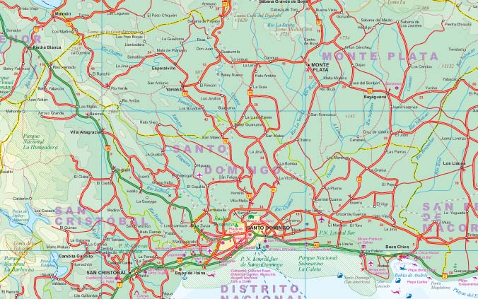 Haiti and the Dominican Republic Road and Physical Travel Reference Map, West Indies.