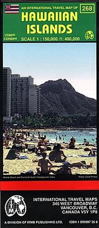 Hawaii: Hawaiian Islands, Road and Shaded Relief Tourist Map, America.