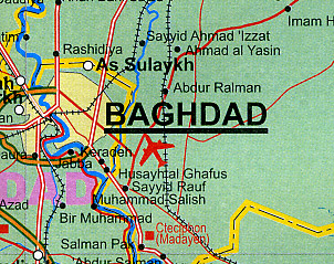 Iraq Road and Physical Travel Reference Map.