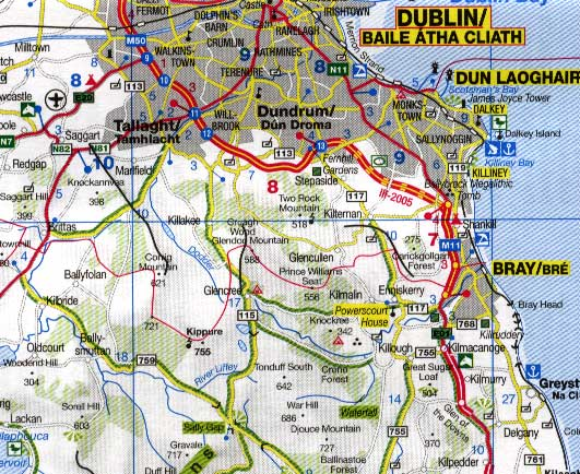 Ireland Road and Physical Travel Reference Map.