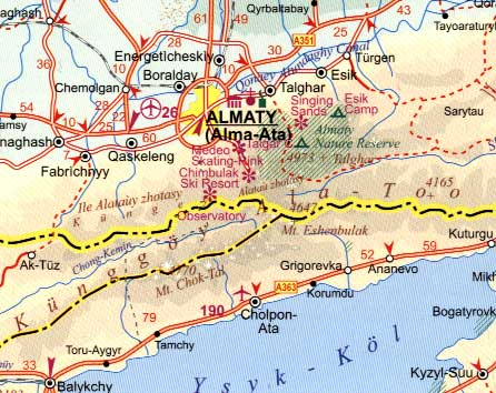 Kazakhstan Road and Physical Travel Reference Map.
