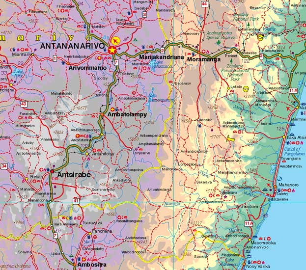 Madagascar Road and Physical Travel Reference Map.