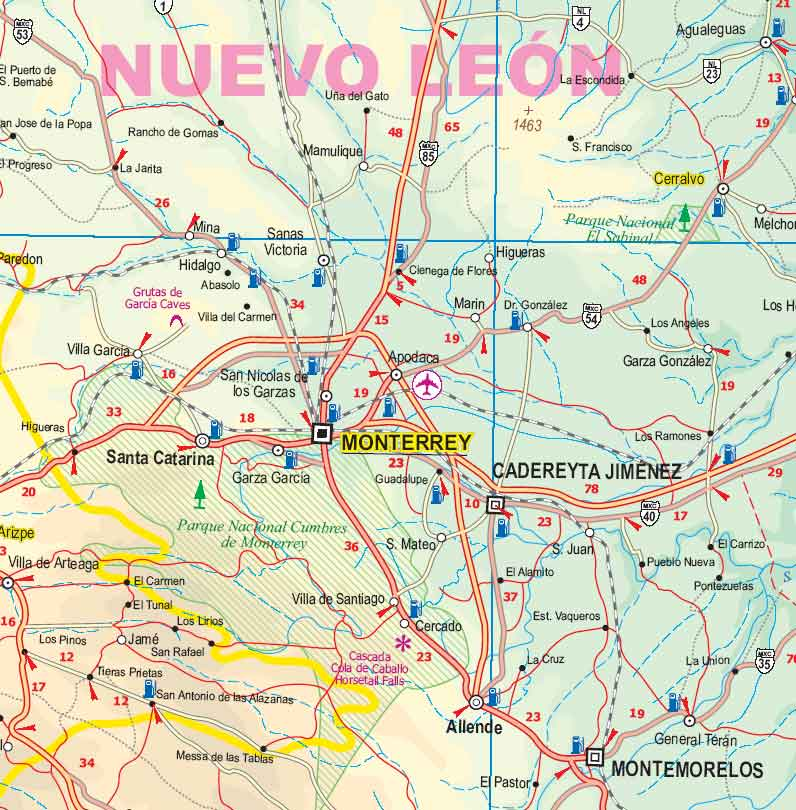 Mexico, North East, Road and Physical Travel Reference Map, Mexico.