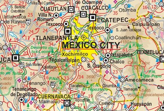 Mexico Road and Physical Travel Reference Map.
