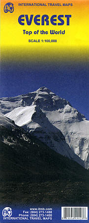 Mount Everest Road and Physical Travel Reference Map.
