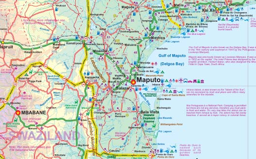 Mozambique and Malawi Road and Physical Travel Reference Map.