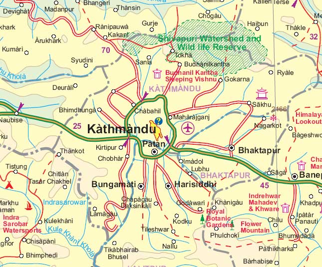 Nepal Road and Physical Travel Reference Map.