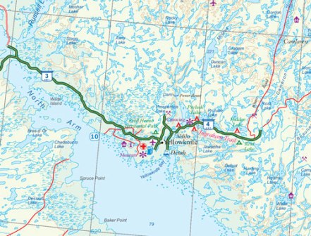 Northwest Territories Road and Physical Travel Reference Map, Northwest Territories, Canada.