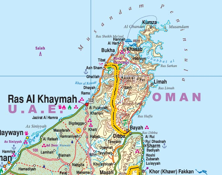 Oman and the United Arab Emirates, Road and Physical Travel Reference Map.