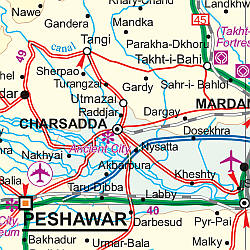 Pakistan Road and Physical Travel Reference Map.