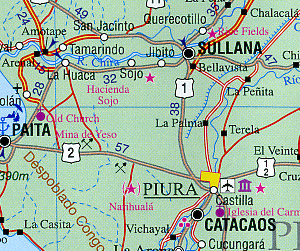 Peru Road and Physical Travel Reference Map.