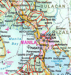 Philippines, Road and Physical Travel Reference Map.