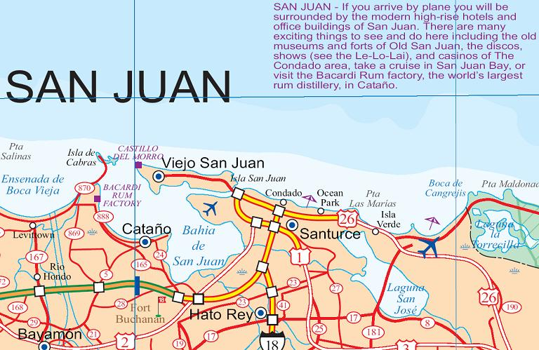 Puerto Rico, Road and Physical, Travel Reference Map, America.
