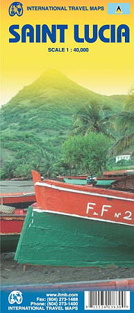 Saint Lucia Road and Physical Travel Reference Map.