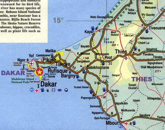 Senegal and The Gambia Road and Physical Travel Reference Map.