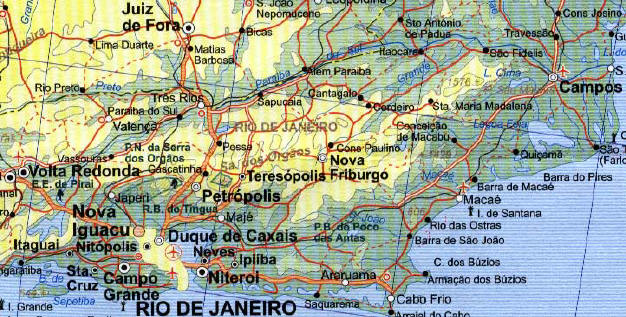South America, NORTH EAST, Road and Physical Travel Reference Map.