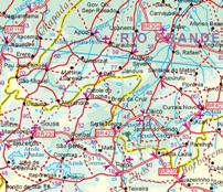 South America, NORTH, Road and Physical Travel Reference Map.