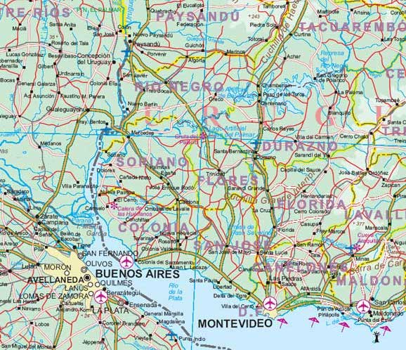 South America, Road and Physical Travel Reference Map.