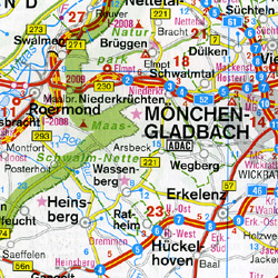 Germany, Southern, Road and Physical Travel Reference Map.