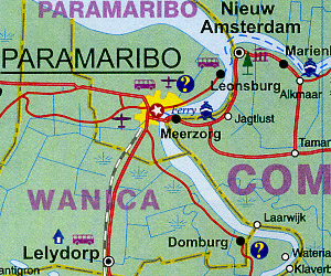 Suriname Road and Physical Travel Reference Physical Map.
