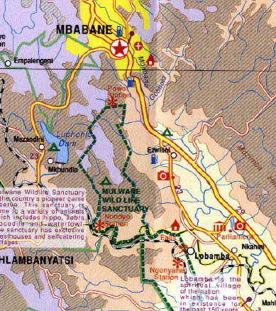 Swaziland Road and Physical Travel Reference Map.