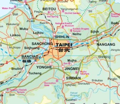 Taiwan and Taipei Road and Physical Travel Reference Map.