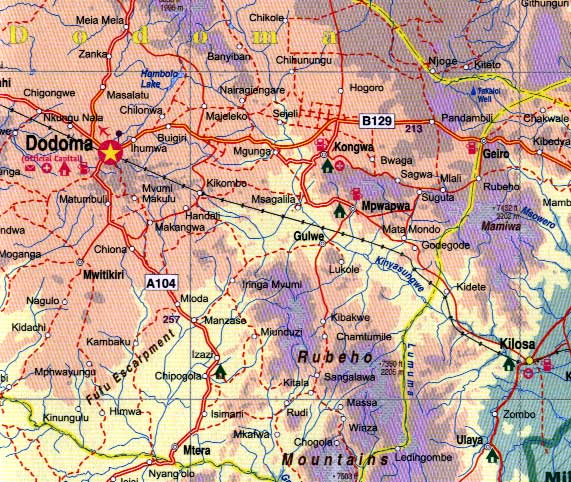 Tanzania Road and Travel Reference Physical Map.